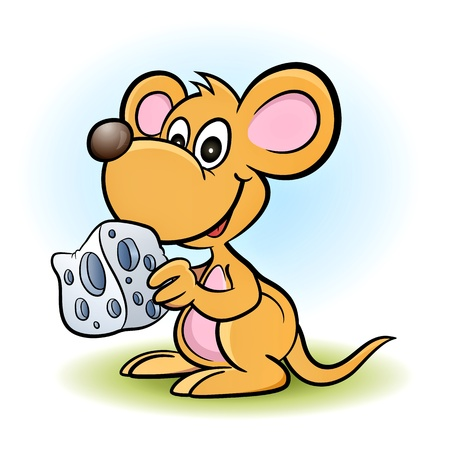 nice smile: mouse with a piece of cheese! Illustration