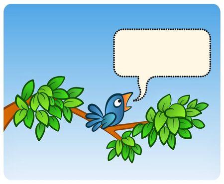 green jay: Un ave en �rbol anunciando algo! Vectores