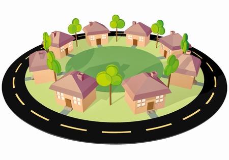 安らぎ: 町をきれいに !正方形のまわりの 8 つの小さな家 !