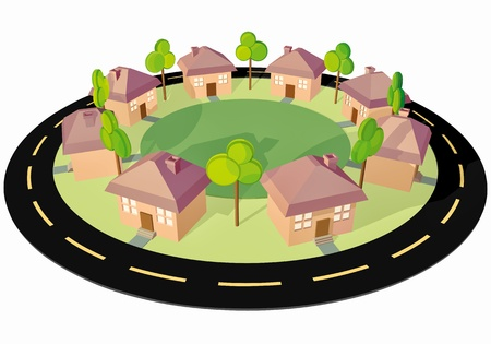 Clean Town! Eight small houses around a square! Stock Vector - 8750350