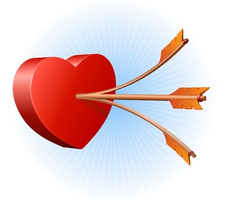 Double shoot on a heart Vector