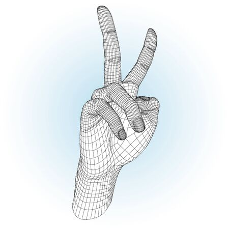 hand with peace gesture! Illustration