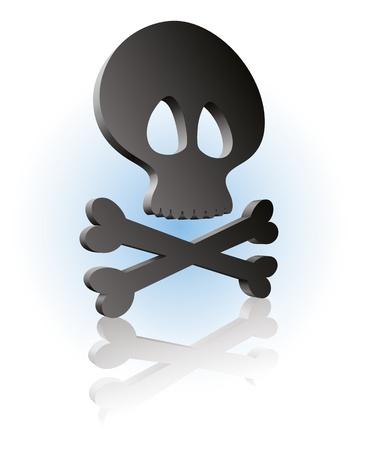 cross bones: Icono de huesos de cr�neo y Cruz! Vectores