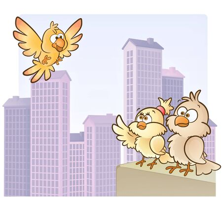 wild canary: Bird on top of the city!