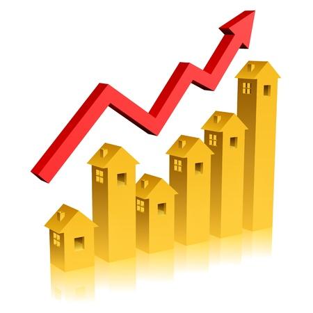 investment real state: Diseño conceptual de oro cambia de un tipo de estado real gráfico mostrando! Vectores