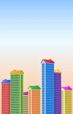 Beautiful City - Colorful buildings and park trees! Stock Vector - 10679345