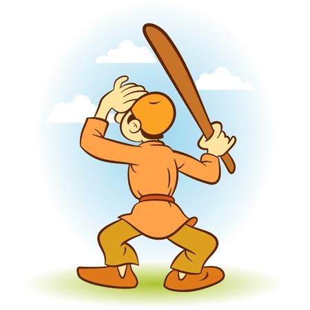 villager: villager man playing baseball in meadow Illustration