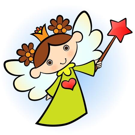 Little cute angel! green dressed. Stock Vector - 10792278