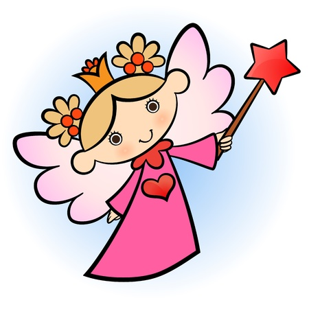 star wand: Little cute angel! pink dressed. Illustration