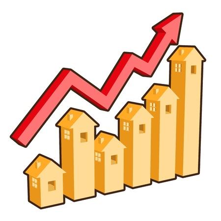 investment real state: gráfico muestra inmobiliario compramos y vendemos cambios en la frecuencia! Vectores