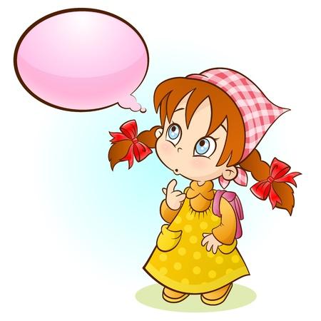 little girl thinking Stock Vector - 10792283