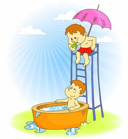 hot tub: Playful Kids Illustration