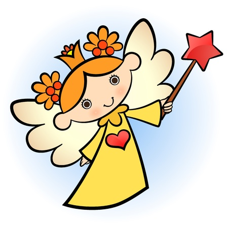 star wand: Little cute angel! yellow dressed.