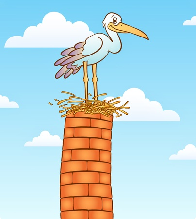 animal den: Stork bird on top of chimney.