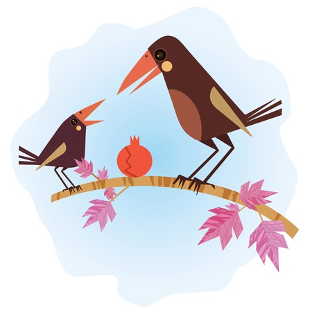baby crow and its mom! Stock Vector - 10847110