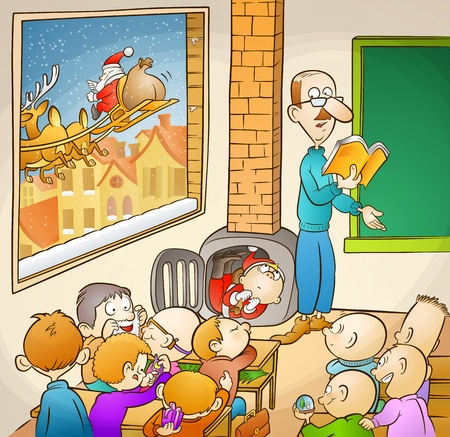 Santa and students! Vector