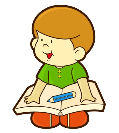 boy and book Vector