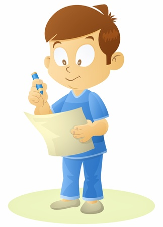 a young boy writing on a paper  Stock Vector - 13365862