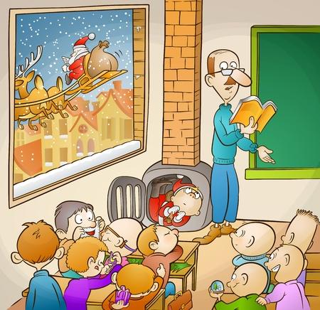 Pap� Noel y los estudiantes algunos estudiantes felices y su profesor en el aula, y Santa est� volando en el cielo de la ciudad
