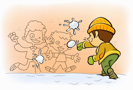 a kid shooting snowballs to painted boys on wall  Vector