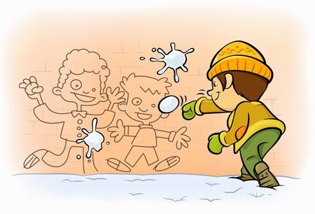 palle di neve: una sparatoria ragazzino palle di neve per i ragazzi dipinte su muro