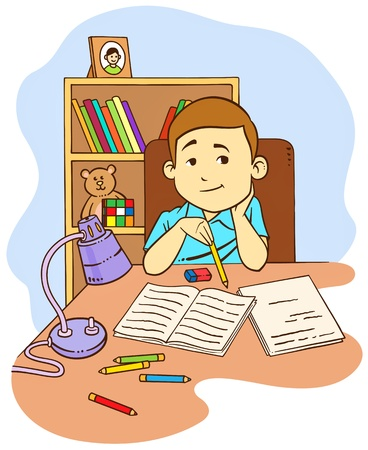 light classroom: a boy doing his homework  Illustration