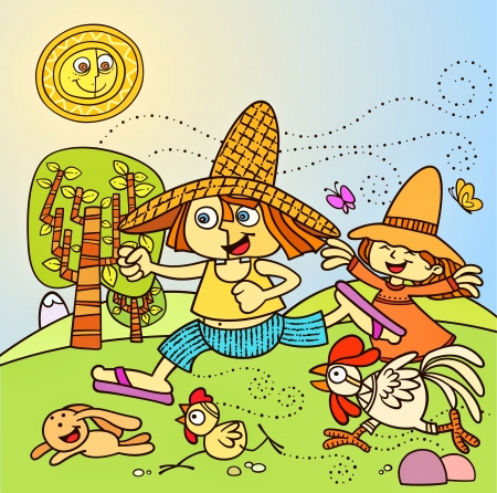 Farm Kids Stock Vector - 15779789