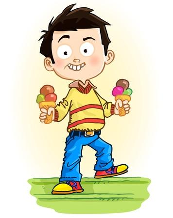 Niño con helado Ilustración de vector