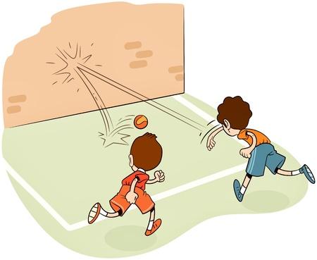 terrain de handball: garçons de remorquage jouant avec une balle.