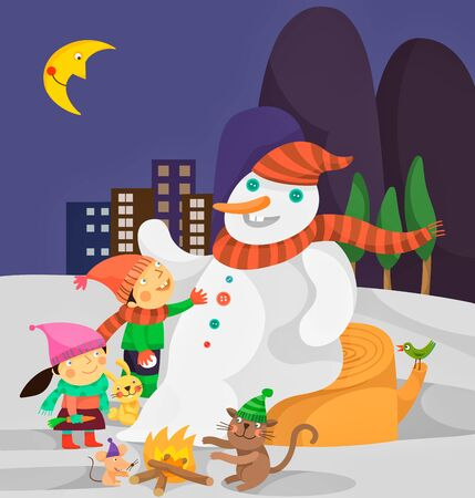 teenagers laughing: Snowman and kids Illustration