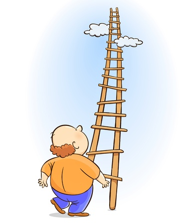 man looking at sky: Ladder of Success