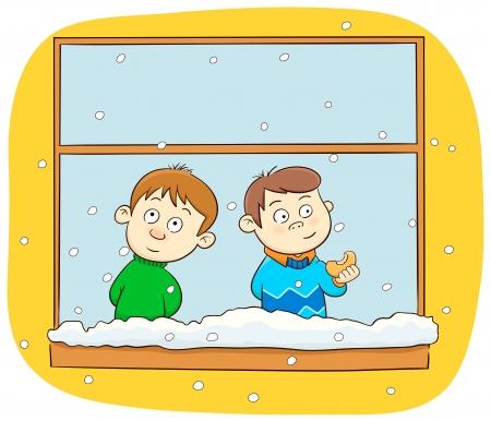 through the window: Snowing
