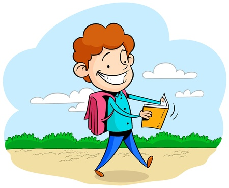 activity exercising: Walking and reading Illustration