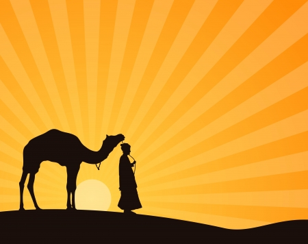 Arab man and camel in desert Stock Vector - 17947999