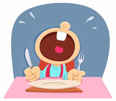 honger Kind Vector Illustratie