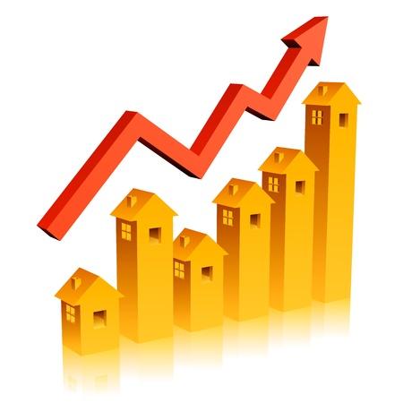 staaf diagram: Real Estate Growth Grafiek Stock Illustratie
