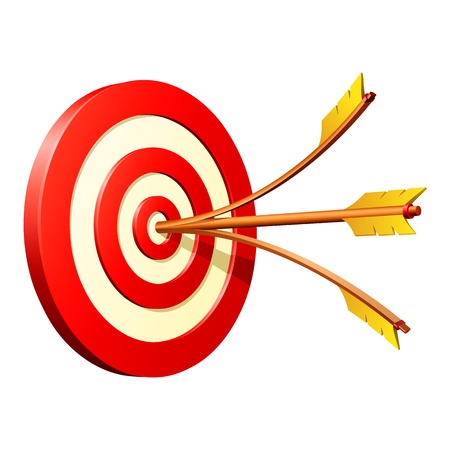 hitting: Business Success Concept - dart hitting target Illustration