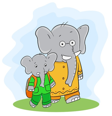 Little elephant and his father Vector