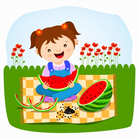 Little girl eating watermelon Vector