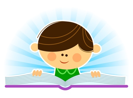 kid reading book Vector