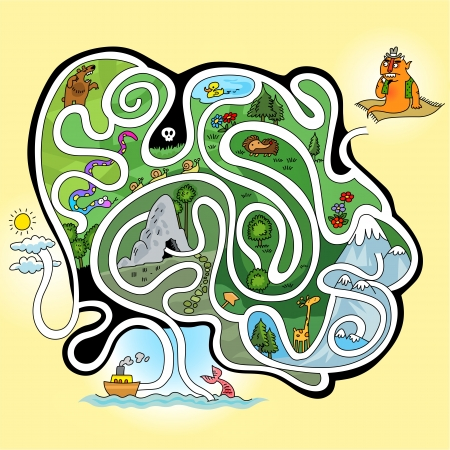 Maze game - Help the giant go to mermaid  Illustration
