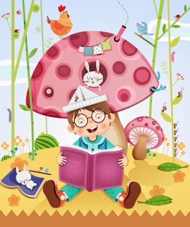 驚くほどの物語の本を読む子供  イラスト・ベクター素材