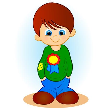 returning: illustration of a boy on a blue background