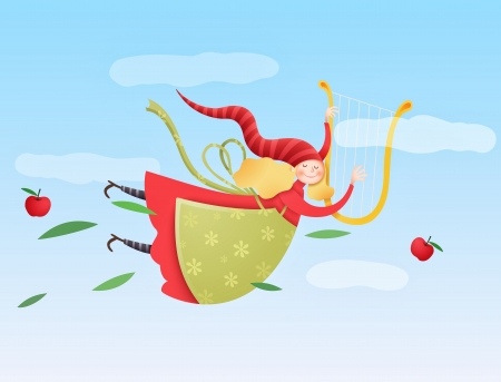 cute flying angel with harp Vector
