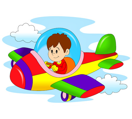 Little Boy Het bedienen van een vliegtuig