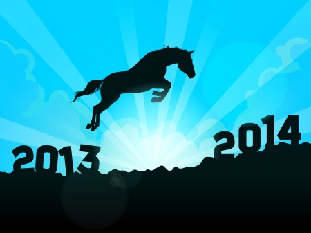 New Year symbol of horse - Jump from 2013 to 2014 Stock Vector - 24472009