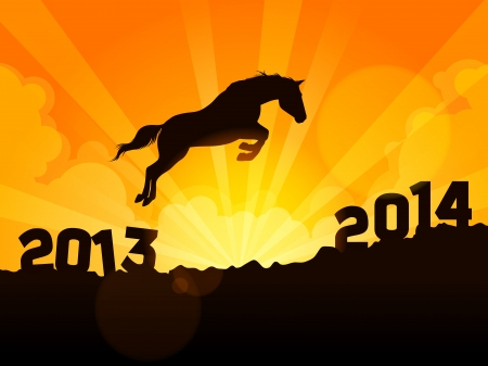New Year symbol of horse - Jump from 2013 to 2014 Vector