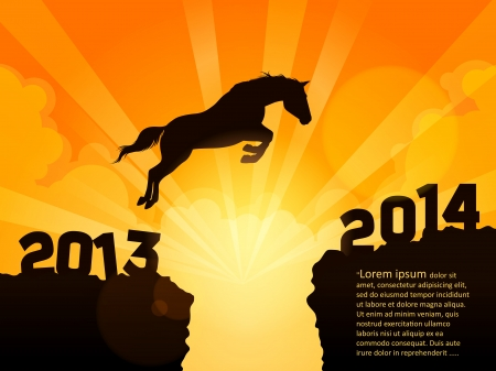 New Year symbol of horse - Jump from 2013 to 2014 Stock Vector - 24472023
