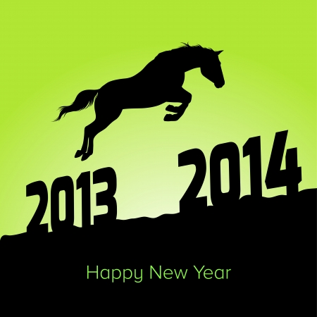 New Year symbol of horse - Horse jumps from 2013 to 2014 Vector