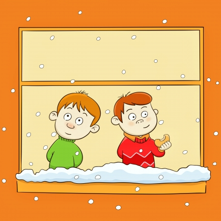 child smile: children watching the snow through the window Illustration